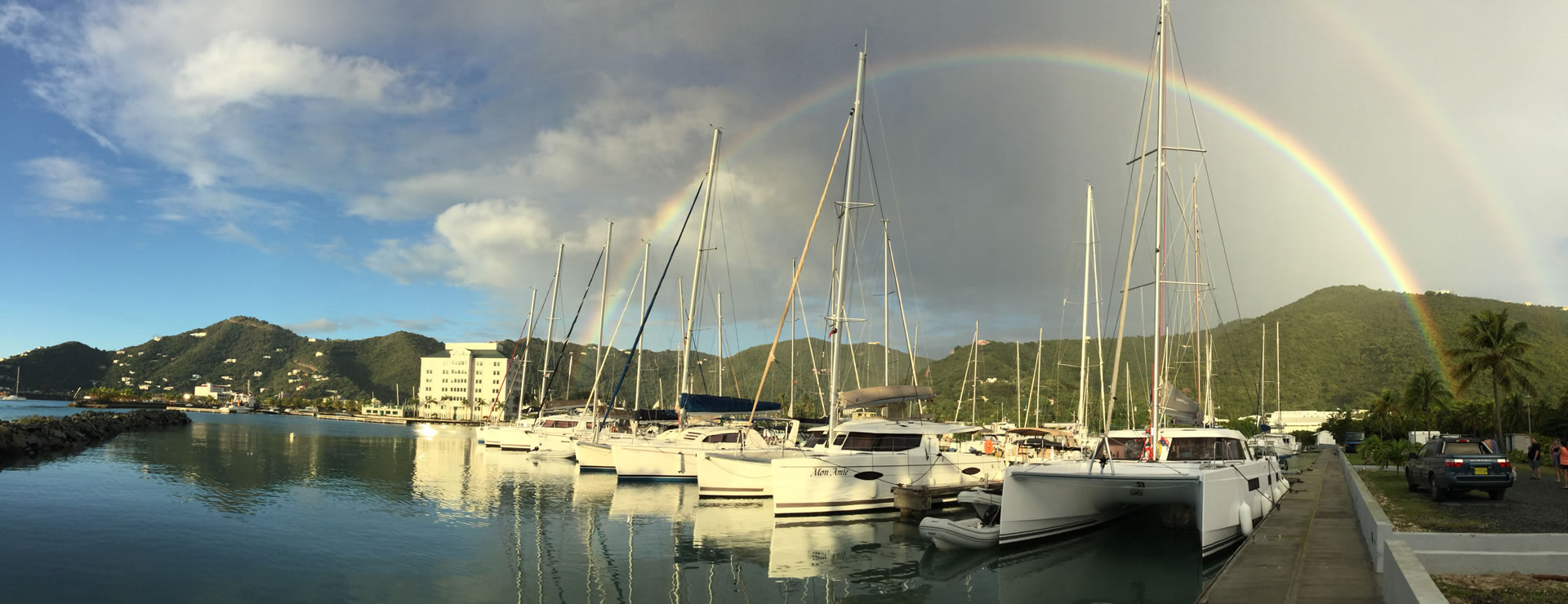 Rainbow over BVI Yacht Charters